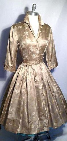 Vintage 1950s 50s Champagne Gold Satin Damask Full Party Dress Holiday M L 38 B | eBay