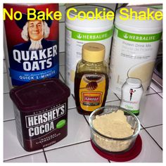 Herbalife No Bake Cookie Shake: PDM Van or Choc, Formula 1 Fr Van, 2 tbsp oats, 2 tbsp PB2, 2 tbsp cocoa, Drizzle Honey (optional), Squeeze liquid sweetener (optional).