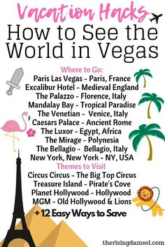 How to have the ultimate vegas vacation Vegas…. provides a cornucopia of flavors, sights and people. It can be a money pit if you do it wrong, but it offers a chance to see the world on the cheap if you do it right! With my tips you'll get there cheap and Las Vegas Vacation, Vegas Fun, Vacation Ideas, Las Vegas Hotels, Vacation Trips, Vacation Spots, Vegas Birthday, 21st Birthday, Paris Las Vegas