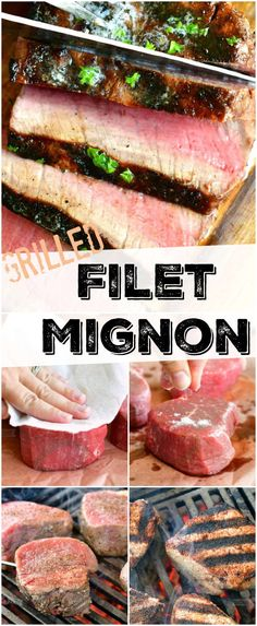 Learn how to make the best grilled filet mignon steaks. Filet Mignon is the most tender, juicy, flavorful steak for any special occasion. #beef #steaks #filetmignon #grilled #easy Grilling Recipes, Pork Recipes, Seafood Recipes, Chicken And Beef Recipe, Filet Mignon Steak, Beef Steaks, Recipe For Mom, Recipe 4, How To Grill Steak