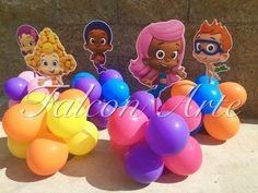Bubble Guppies centerpiece Wood handcrafted with balloons for Birthday Centerpieces set of 6 or 8 for cake table decoration Bubble Guppies Centerpieces, Bubble Guppies Birthday, Birthday Centerpieces, Blowing Up Balloons, Bubble Balloons, Bubbles, Ballons Aufblasen, Birthday Bar, Birthday Ideas