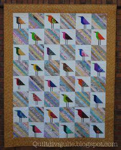 """Just Wing It - Bird Quilt"" by Quilt Diva Julie - paper pieced birds interspersed with rainbow scrap blocks"