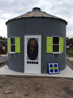 Repurposed grain bin for a gift shop