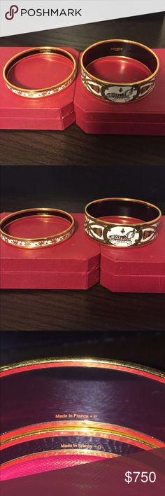 """Authentic Hermes Enamel Bracelets 100% Authentic Hermes Wide Enamel Gold-tone """"Grand Apparat """"and Narrow """"Balcons Du Guadalquivir"""" Enamel and  Gold-tone Bracelets , Beautiful Set, Both size 65, Great Condition, Some scuffs on gold from normal wear, nothing loose or broken, comes with bracelets only no box, I ship same day Hermes Jewelry Bracelets"""