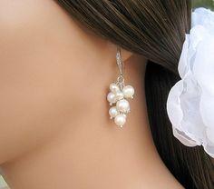 Pearl Wedding Earrings Bridal Pearl Earrings by CherryHillsBridal, $39.00