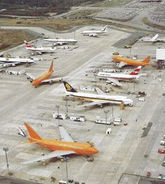 Paine Field with five 747-SPs and five 747-200s.