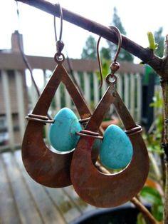 Copper teardrop hoop, turquoise stone, copper ear wire, boho earrings  | mckeejewelrydesigns - andria mckee, McKee Jewelry,  McKee Jewelry Designs,   hand made jewelry, jewellery