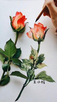 Watercolor Art Lessons, Watercolor Flower Painting, Abstract Watercolor Tutorial, Watercolor Flowers Tutorial, Watercolor Paintings For Beginners, Simple Watercolor, Watercolor Pictures, Watercolour Tutorials, Painting Videos