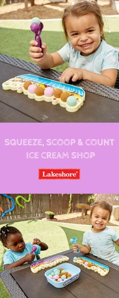 Give kids a taste of counting practice with our adorable Squeeze, Scoop & Count Ice Cream Shop! Counting For Kids, Summer Activities For Kids, Toddler Activities, Caterpillar Preschool, Ball Storage, Lakeshore Learning, Developmental Disabilities, Fathers Day Crafts, Crafts For Kids To Make