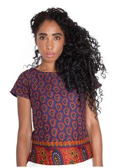 Contrast Hem Ladies statement T Shirt, Scooped Neck, Printed Cotton – Mayamiko
