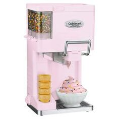 """Soft-serve ice cream maker with 3 built-in condiment dispensers.   Product: Ice cream makerConstruction Material: Metal, plastic, and glassColor: Pink and silverFeatures:  Three built-in condiment dispensersCone holderRecipes includedProduces 1.5 quarts of ice cream in 20 minutes Dimensions: 18.5"""" H x 9.75"""" W x 9"""" DNote: Bowl and toppings not included"""