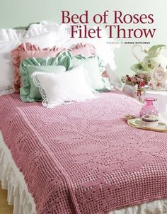 W728+Filet+Crochet+PATTERN+ONLY+Bed+of+Roses+Afghan+Throw+Pattern