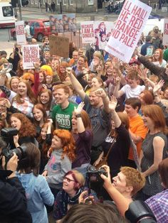 Ginger Pride Walk in Edinburgh lead by Shawn Hitchins.  Photo via Being Ginger Facebook Page.