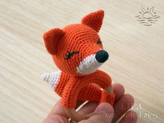 Fox rattle teething ring Organic teether Crochet fox Chew toy Newborn toy Wooden teether toy Plush fox Animal shape teether Safe baby toy