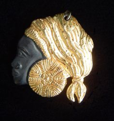 Vintage African Woman Gold-Tone & Matte Black Pendant - Visit my Etsy shop: www.etsy.com/shop/AyQueBella