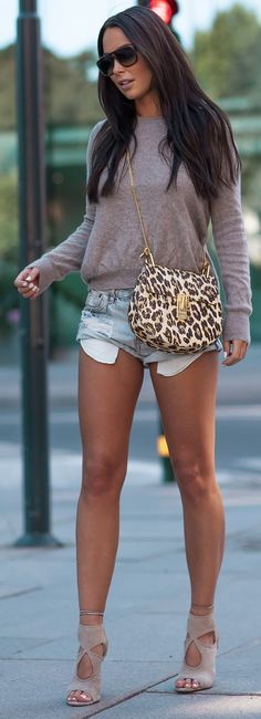 Shoes: AQUAZZURA / Bag: CHLOÉ / Sunglasses: SAINT LAURENT / Sweater: SOFT GOAT / Shorts: ONE TEASPOON