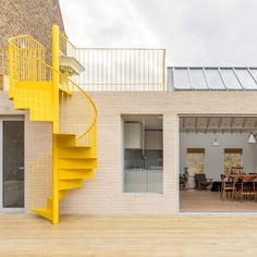 Latest Dezeen Weekly newsletter includes a rooftop apartment in east London with a yellow spiral staircase and a sports car that sold for million. Traditional Staircase, Modern Staircase, Staircase Design, Staircase Ideas, Yellow Interior, Interior And Exterior, Big Design, House Design, Design Ideas