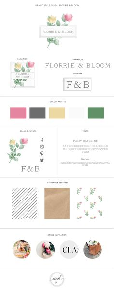 Brand Style Board for Florrie & Bloom   This brand style board for a chic florist is colorful yet elegant. If you require branding services for your wedding business, click through to find out more. Wonderland Graphic Design - Styling your way to a better business!