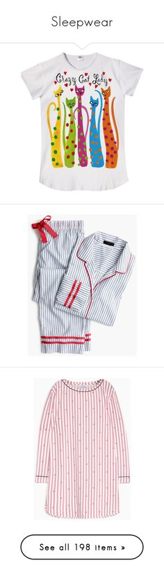 """Sleepwear"" by lence-59 ❤ liked on Polyvore featuring intimates, sleepwear, nightgowns, night shirt, sleep shirts, pajamas, cotton sleepwear, j crew pajama set, cotton pajama set and j crew pjs"