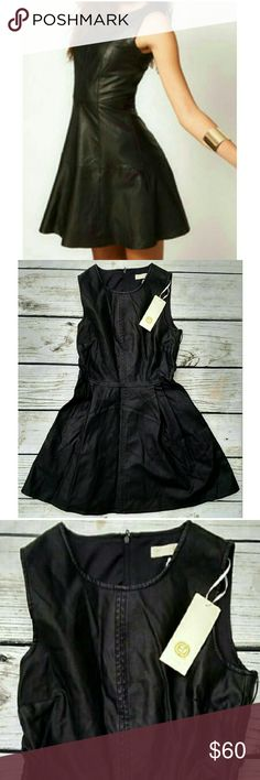 "NWT LF Qed London faux leather skater dress. Sz 10 NWT super cute! Runs small in my opinion.  Length 32"" Waist 28"" Armpit to armpit 16"" LF Dresses Mini"
