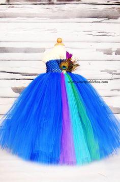 Blue Peacock Tutu Dress