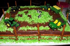 Farm birthday cakes   John Deere Farm 4th Birthday Cake   G & A Cakes