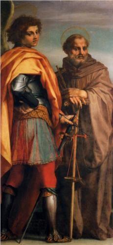Sts Michael and John Gualbert ~ Andrea del Sarto ~ 1528 ~ Mannerism, Late Renaissance ~ Galleria degli Uffizi, Florence, Italy Renaissance Fashion, Italian Renaissance, Renaissance Art, Hieronymus Bosch, Jan Van Eyck, Archangel Michael, Catholic Saints, Roman Catholic, John The Baptist