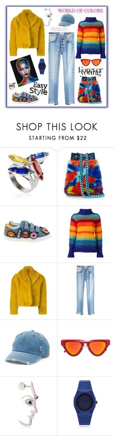 """""""Forever young"""" by zabead ❤ liked on Polyvore featuring Halo & Co., House of Holland, Twins For Peace, Kansai Yamamoto, Jean-Paul Gaultier, Frame, Mudd, Gucci, Smoke x Mirrors and Deefine"""