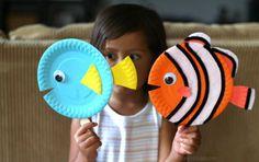 manualidades con platos desechables: animales marinos