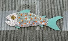 Bud Light, Heineken and Becks Bottle Cap Mosaic Fish by john t unger, via Flickr