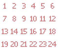 Cross-Stitch-Adventskalender-Zahlen in verschiedene Dateiformate umgewandelt als… Cross-stitch advent calendar numbers converted to different file formats as a plotter freebie Cross Stitch Numbers, Cross Stitch Letters, Cross Stitch Fabric, Cross Stitch Baby, Cross Stitch Charts, Cross Stitching, Cross Stitch Embroidery, Cross Stitch Alphabet Patterns, Stitch Patterns