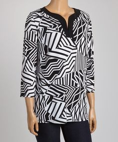 Another great find on #zulily! Black & White Abstract Wave Notch Neck Tunic - Plus #zulilyfinds