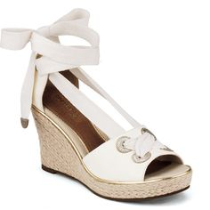 Palm Beach Wedge Sandal (99 AUD) ❤ liked on Polyvore featuring shoes, sandals, wedges, heels, shoes - wedges, white leather, strappy wedge sandals, platform wedge sandals, wedge sandals and platform sandals