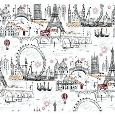 """Black and White Novelty Euro Scenic 27' x 27"""" Roll Wallpaper"""