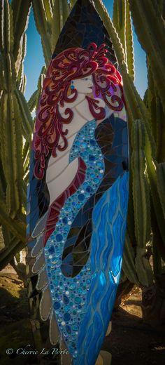 Mermaid in Red surfboard by Cherrie La Porte Mosaic Tile Designs, Mosaic Tile Art, Mosaic Crafts, Mosaic Ideas, Mosaic Projects, Mosaic Glass, Fused Glass, Surfboard Art, Muse Art