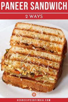 There are many ways to make a paneer sandwich and these are my favorite ways to make them! This healthy Indian recipe can be made on a grill or on the stovetop to get the perfect crunch and melty paneer. Try this recipe for kids as it is much like a grilled cheese sandwich with Indian spices and vegetables. #Indianfood #paneer #sandwich #breakfast #dinner #vegetarian