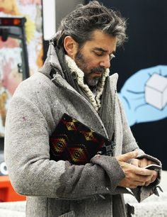 Griege Felted Wool Jacket, Oatmeal Wool Sweater, and Grey Scarf. Men's Fall Winter Street Style Fashion.
