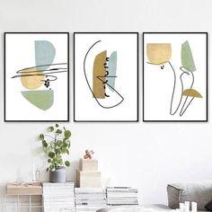 Abstract Geometric Set Of 3 Prints Scandinavian Poster Mid Century Modern Living Room Wall Art Downl abstractlineart Mid Century Modern Living Room, Mid Century Modern Art, Mid Century Art, Abstract Line Art, Geometric Painting, Large Wall Art, Large Art, Scandinavian Poster, Poster Minimalista
