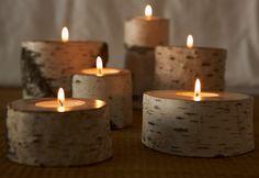 Aspen candle holder uses metal tea lights Wood Tea Light Holder, Wooden Candle Holders, Wooden Diy, Handmade Wooden, Bois Diy, Diy Candles, Natural Candles, Natural Wood, Handmade Home
