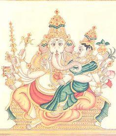 Maha Ganapati Mool Mantra is a very powerful healing mantra which brings peace of mind and prosperity upon the practitioner Ganesha Painting, Ganesha Art, Mysore Painting, Hoodoo Spells, Shree Ganesh, Hindu Dharma, Hindu Mantras, Amazing India, Shiva Shakti