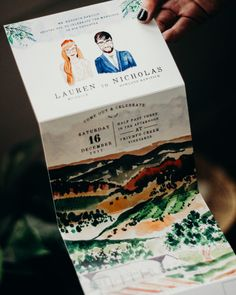 Illustrated Fold-Out Watercolor Wedding Invitations by Wide Eyes Paper Co.