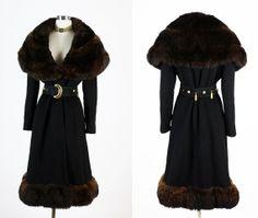 Vintage 1950s 50s 60s Lavish Elegant Fur Wool Coat