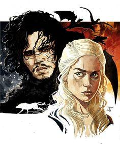 Game of Thrones - Jon Snow and Daenerys Targaryen by German Peralta *