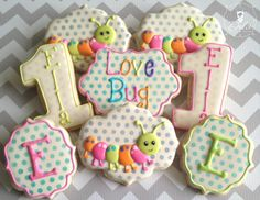 One Dozen (12) Love Bug First Birthday Decorated Sugar Cookies