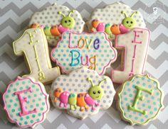 One Dozen (12) Love Bug First Birthday Decorated Sugar Cookies