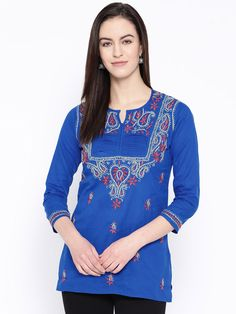 Ada #handmebroidered Royal Blue #Cotton #Lucknow #Chikan #Top– A100239 - #AdaChikan #Chikankari