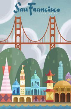 San Francisco City Art Print | Illustrator: Bill Robinson