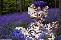 The Storyteller: a reference to Kirstens mother, a model on a carpet of bluebells enveloped by books