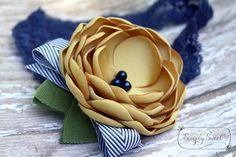 Sunshine After The Rain Sunny Yellow and Navy by joellegfritz Floral Headbands, Baby Headbands, Satin Flowers, Fabric Flowers, Easy Fathers Day Craft, Felt Headband, Kanzashi, Diy Bow, Handmade Flowers