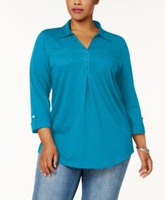 Karen Scott Plus Size Cotton Polo-Collar Henley Top, Created for Macy's - White 1X